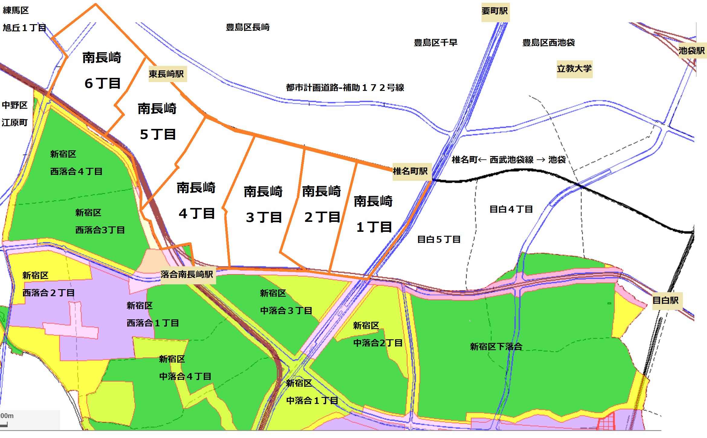 豊島区南長崎を中心とした概要図
