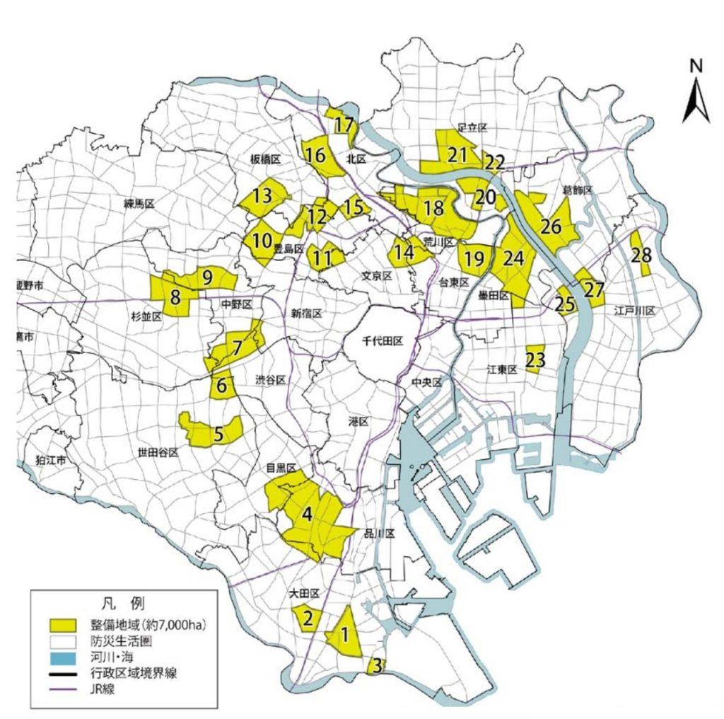 木密地域不燃化 10 年プロジェクト_整備地域位置図