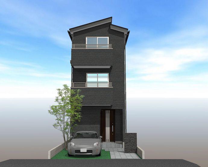 新築戸建て_3階建て_外観パース